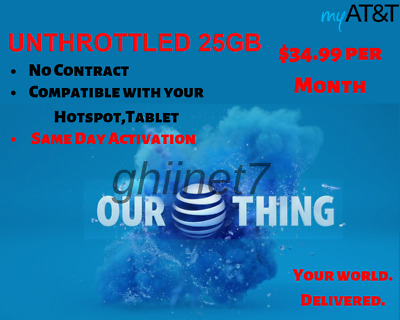 AT&T Unlimited 4G Data Plan $34.99 / Month Tablet / Hotspot No Contract