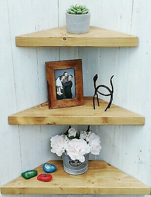 Chunky Rustic Wooden Solid Wood Floating Corner Shelf 3 Larger Sizes /10 Colours