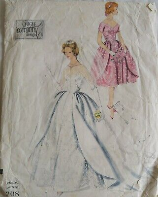 Vintage 1960s Vogue Couturier Sewing Pattern 208 Women's WEDDING BRIDAL DRESS 12
