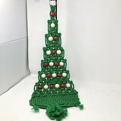 "MCM Vintage Handcrafted Macrame Christmas Tree Wall Decor Hanging  29"" X10"""