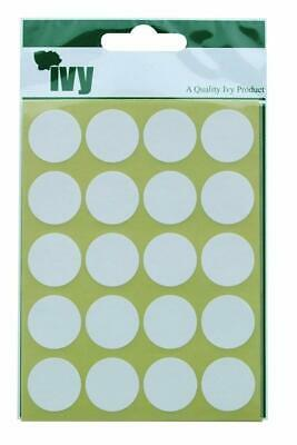 Ivy 19mm White Self Adhesive Round Spot Dot Sticky Labels Circle Stickers (140 S