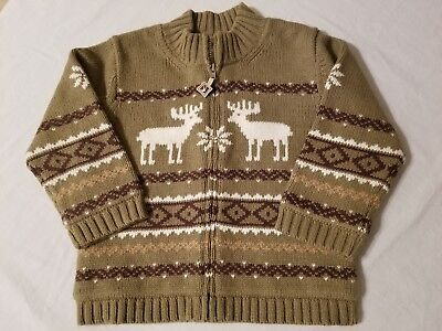 NWT Janie & Jack Boys Reindeer Sweater Olive Green Size 18-24 Month Zip Cardigan