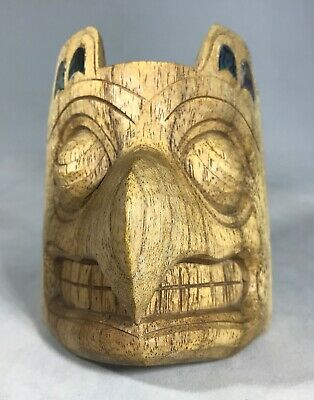 """Pacific Northwest 4"""" Carved Wooden Eagle Mask with Abalone Inlay"""