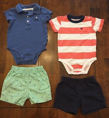 Carter's Baby Boy 2 Sets 2-Piece Outfits Bodysuits & Shorts - SIZE 9 MOS