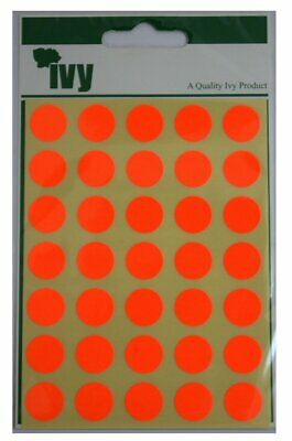 Ivy 13mm Fluorescent Red Self Adhesive Round Dot Spot Sticky Labels Circle Stick