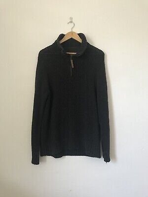 Size Small Fat Face Quarter Zip Pullover Dark Grey Cable Knit Jumper Z1