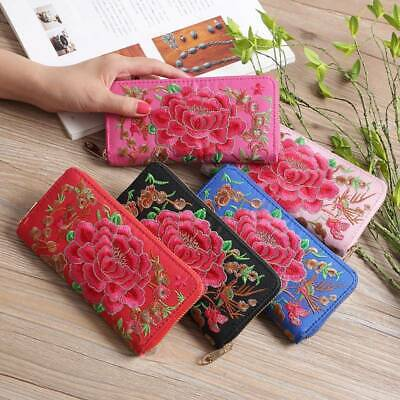 Women Lady Clutch Leather National Floral Long Wallet Holder Phone Purse Handbag