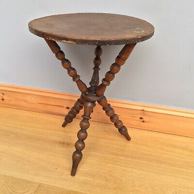 Antique Gypsy Table Old Fortune Teller Round Bobbin Old Victorian Occasional