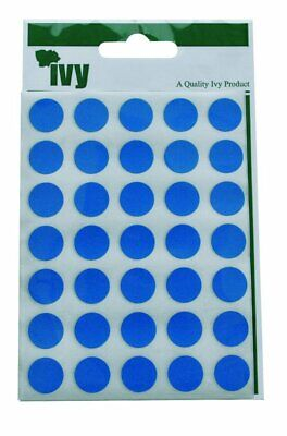 Ivy 13mm Blue Self Adhesive Round Dot Spot Sticky Labels Circle Stickers (140 St