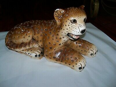 Large Vintage Chalkware Cheetah Leopard Sculpture Statue Made In USA