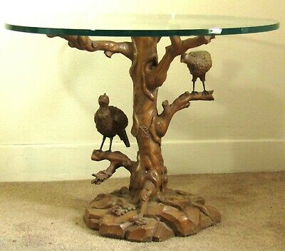 Hand Carved Wood Tree Table Base with Perched Birds - 3' Glass Top - Pickup Only