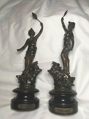 Art Nouveau Pair of Antique French Spelter Figurines ~ The Hunter & Huntress