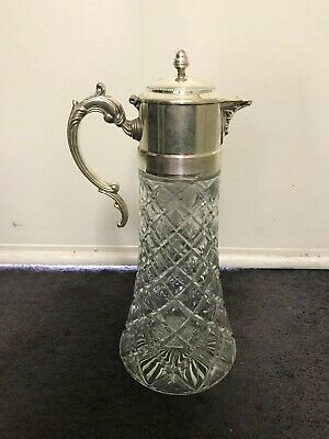 Vintage Silver Plated Diamond Cut Glass Carafe Pitcher Decanter