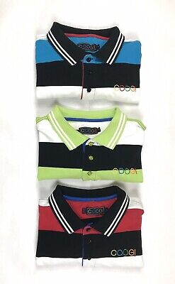 Coogie Mens Multi-Color Striped Polo Shirts Size Large Lot Of 3 Pairs