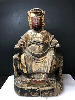 Antique Chinese Polychrome Wood Temple Figure Seated On An Armchair