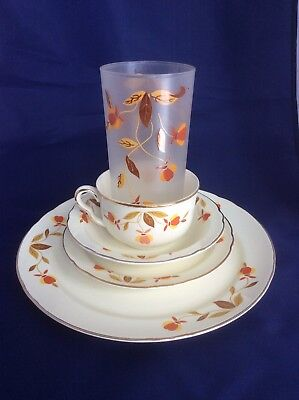 Vintage Jewel Tea Autumn Leaf China place setting Glass Plate Bowl Cup Saucer