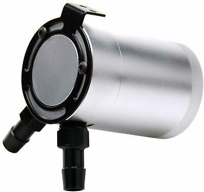 Universal 2 Port Oil Catch Can Tank Compact Auto Baffled Air-Oil Separator Silve
