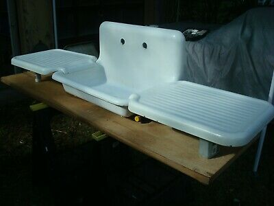 Early 1900's Cast Iron Porcelain Farm House Kitchen Sink With Drainboards