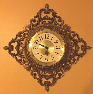 Battery Wall Clock Burwood New Haven Gold Hollywood Regency French Provincial