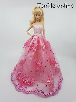 New Barbie doll clothes outfit wedding ball gown dress pink flower au seller