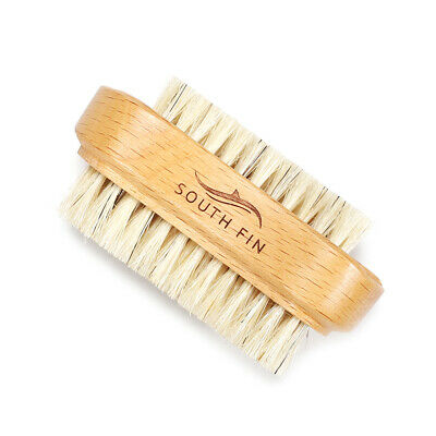 Double Sides Brushes Nail Cleaning Brush with Wooden Handle Natural U8L4