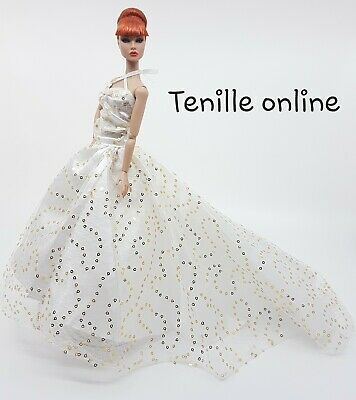 New Barbie doll clothes outfit traditional wedding gown dress white gold & shoes