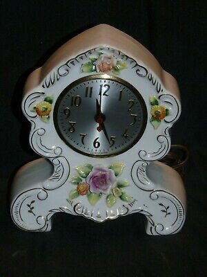 Sgk China Antique Floral Design Mantle Clock For Parts Or Repair Only Looks Nice