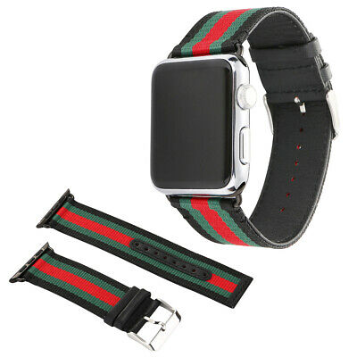 Replacement Gucci Pattern Sport Nylon Leather Band Strap for Apple Watch 38 42