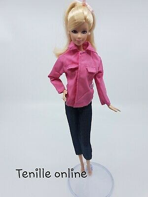 New Barbie doll clothes fashion outfit pants pink top front pockets