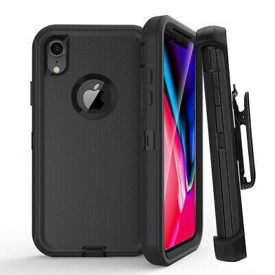 For iPhone XR XS MAX Hybrid Rugged Armor Case (Belt Clip fits Otterbox Defender)