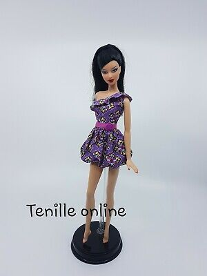 New Barbie doll clothes fashion outfit dress short pretty purple flower