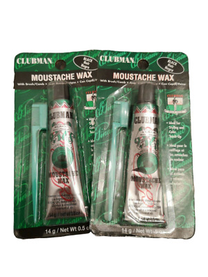Lot of Clubman Mustache Wax In Black, 2 x 14g / .5 oz Tubes with applicator.