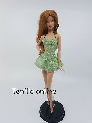 New Barbie doll clothes fashion outfit dress short green gold shiny