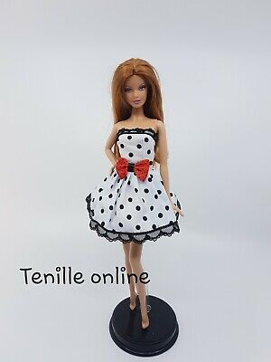 New Barbie doll clothes fashion outfit dress red bow polka dot white fashion