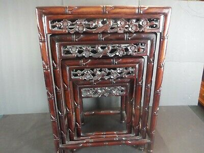 Antique Hong Kong Chinese Carved Nesting Tables Birds & Flowers Honolulu Hawaii