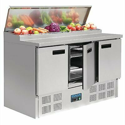 G605-A Polar 3 Door Salad and Pizza Prep Counter Stainless Steel
