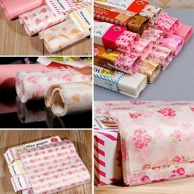 50Pcs Fast Food Wax Paper Wrapping Candy Bread Hambur Sandwich Baking Wrap Acces