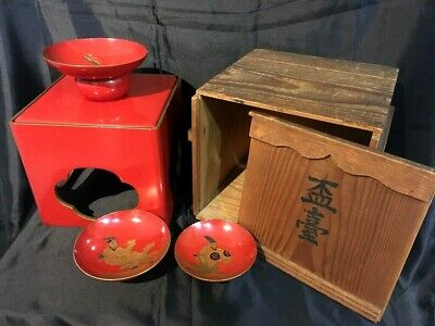 Antique Japanese EDO wood old LACQUER ware SAKE red cup SAKAZUKI complete set