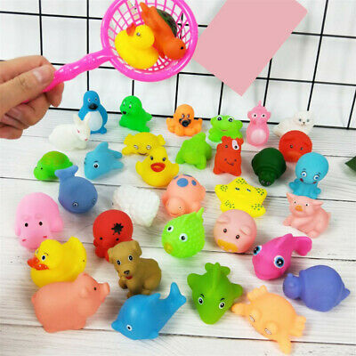 10PCS/Set Mixed Cartoon Kids Bath Rubber Pool Toys Childen Shower Time Sound Toy
