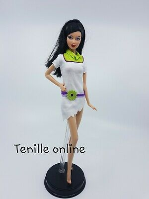 New Barbie doll clothes fashion outfit dress short pretty white casual flower