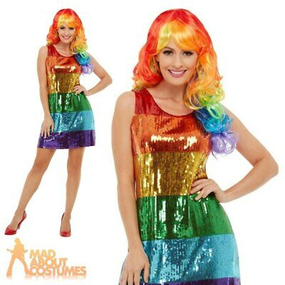 Ladies Rainbow Glitter Costume 80s Pride Womens Adults Fancy Dress Outfit
