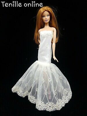 New Barbie doll clothes outfit traditional wedding gown dress off white & shoes