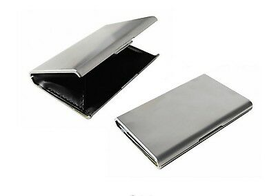 2 x Visitenkarten Etui Business Card Box Metall Alu silber, Goldbarren Etui