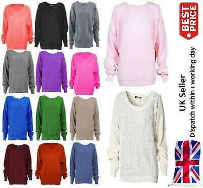 AM Ladies Womens Chunky Thick Baggy Jumper Knitted Sweater Over Sized Plus Size
