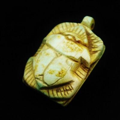 Rare Antique Egyptian Stone Ancient Scarab Beetle Amulet Figurine Pendant