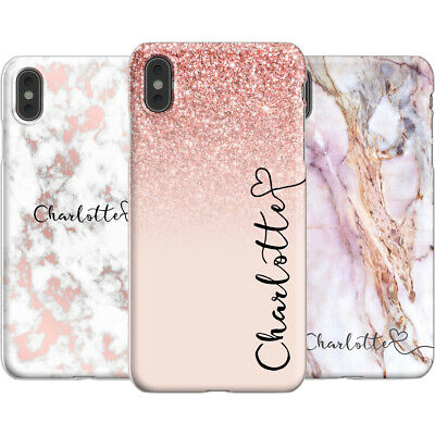 Personalised Marble Phone Case Cover Name and Swirl initials for Apple iPhone