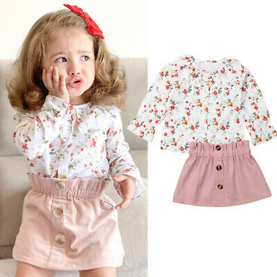 AU Baby Girl Floral Shirt Long Sleeve Skirts Outfit Toddler Kids Dress Clothes