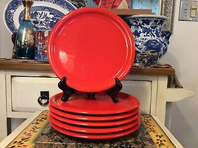"Vintage set of 6  Waechtersbach Red 10"" Plate Rolled Rim Westera Germany dinner"