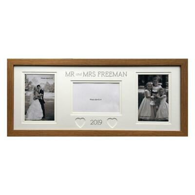 Personalised Mr & Mrs Heart Collage Photo Frame 20 x 8 Wedding Gift