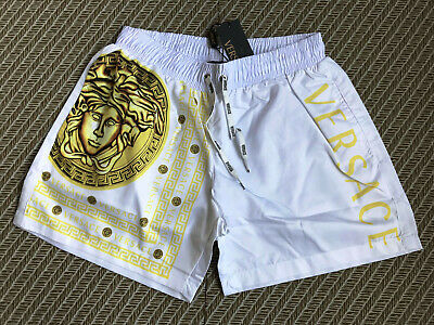 New  Versace Swimshorts White Men's Italy Print Gold Swim Briefs Drawstring